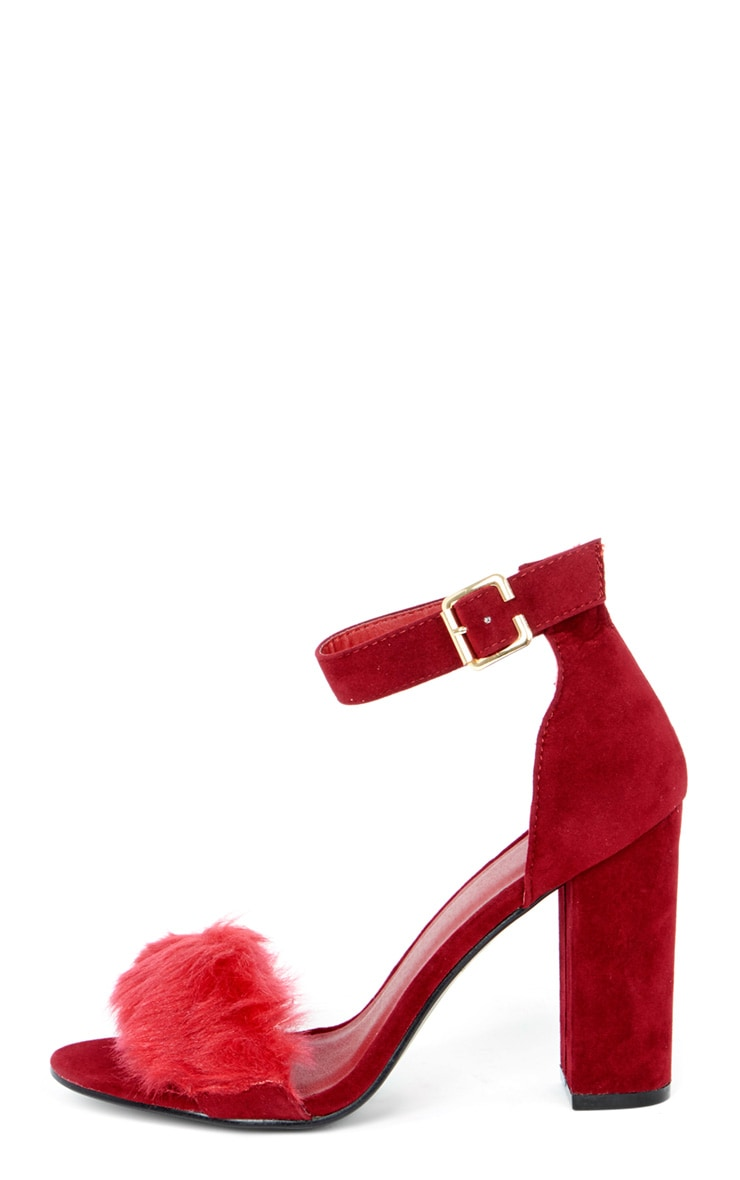 Adalyn Red Fluffy Block Heeled Sandal  1