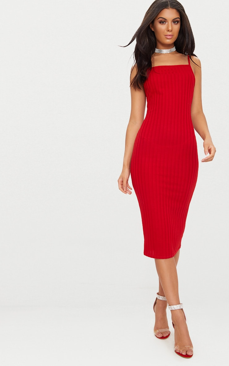 Red Straight Neck Rib Knit Midi Dress 1