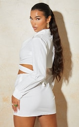 White Linen Feel Ring Detail Tie Side Cropped Top 2