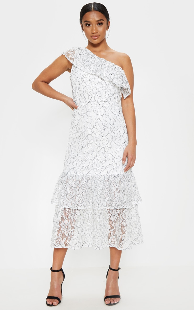 Petite White Off The Shoulder Multi Frill Midaxi Dress 1