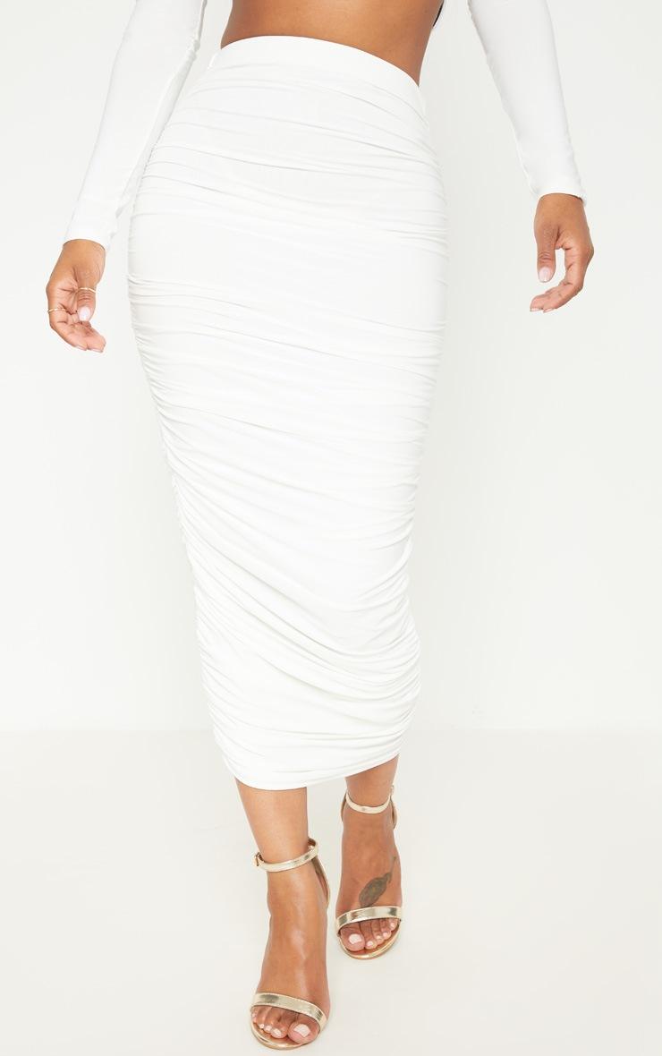 Shape White Slinky Ruched Midi Skirt 4