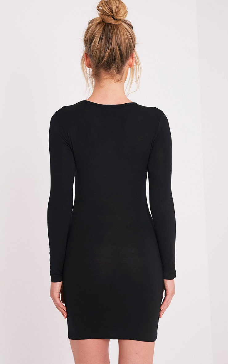 Amerie Black Jersey Long Sleeve Bodycon Dress 2