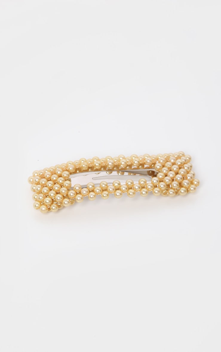Gold Pearl Rectangle Large Hair Clip    2