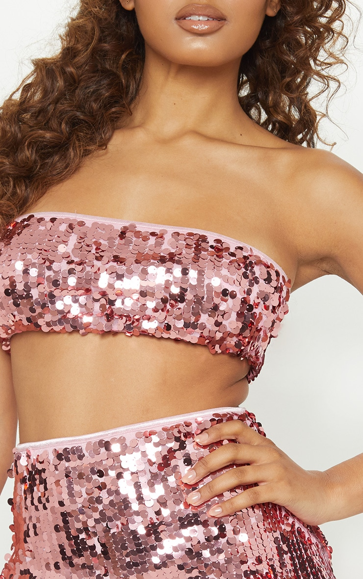 Tall Pink All Over Sequin Bandeau Top 5