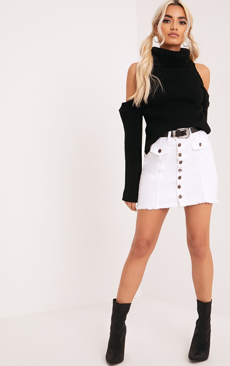 Piper Black Cut Out Shoulder Jumper 4
