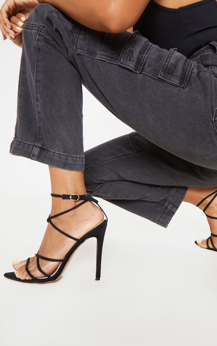 Black Strappy Point Toe Sandal 2