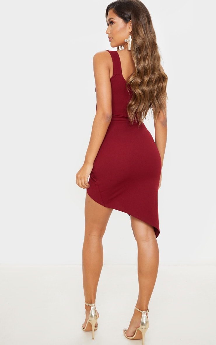 Burgundy One Shoulder Wrap Skirt Midi Dress 2