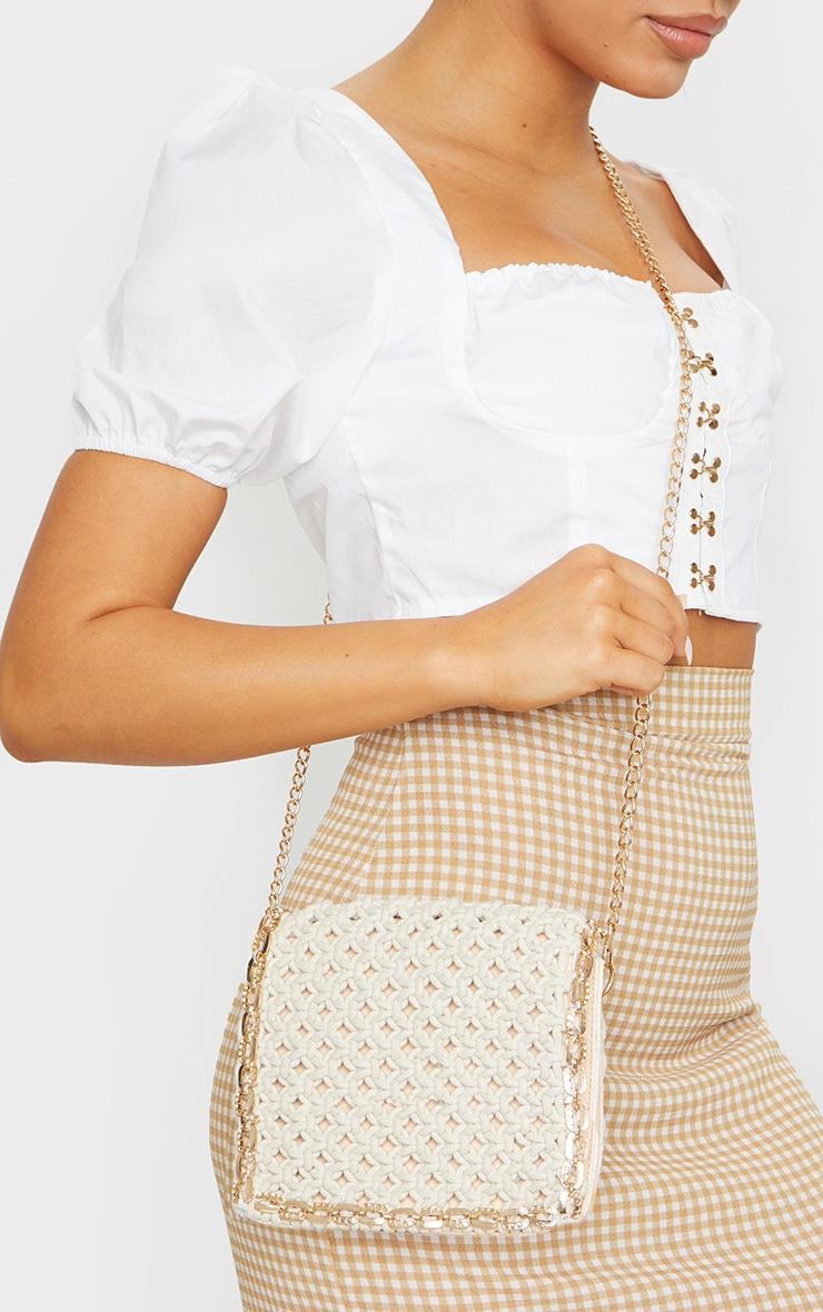 Cream Woven Gold Trim Cross Body Bag 1