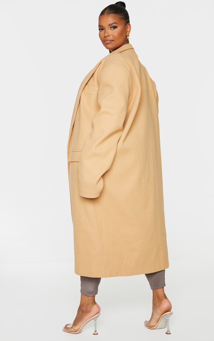 Plus Camel Oversized Shoulder Padded Coat 2