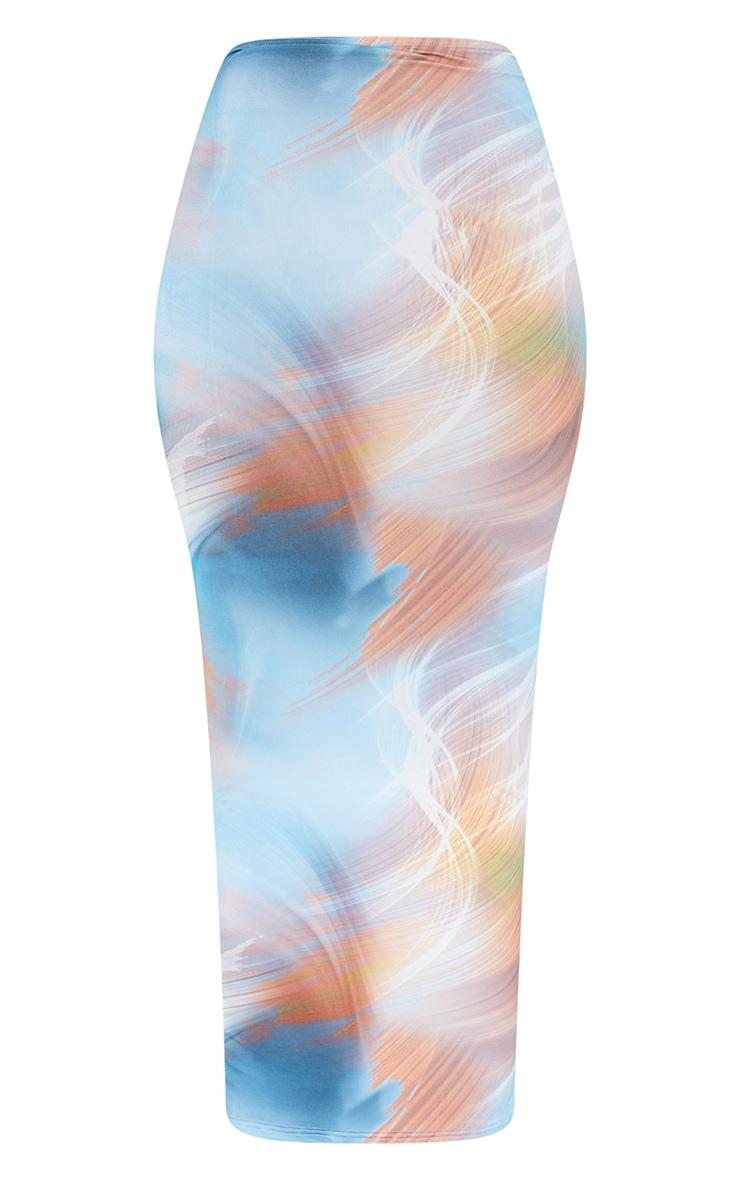 Blue Flame Print Slinky Thong Bum Detail Midaxi Skirt 5