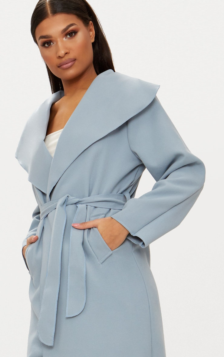 Veronica Powder Blue Oversized Waterfall Belt Coat 5