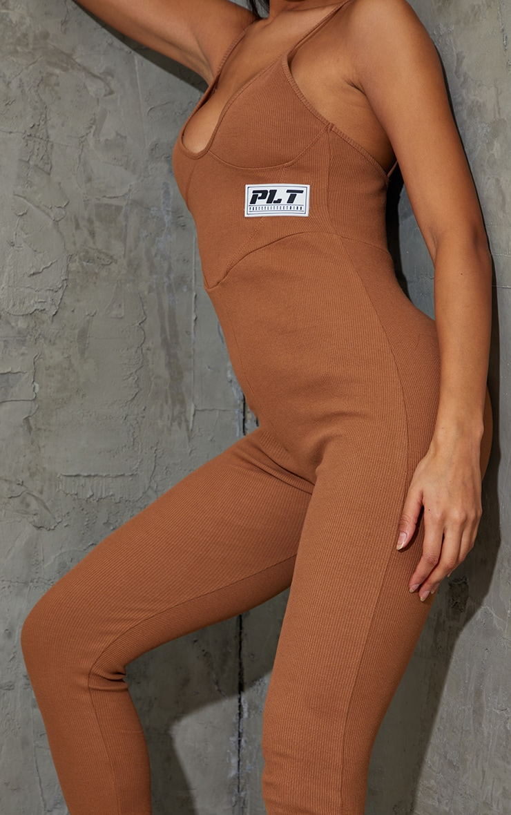 PRETTYLITTLETHING Chocolate Strappy Thick Rib Binding Jumpsuit 4
