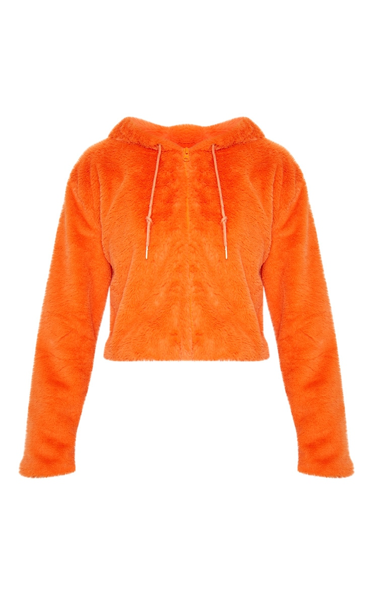 Orange Cropped Faux Fur Jacket With Hood 4