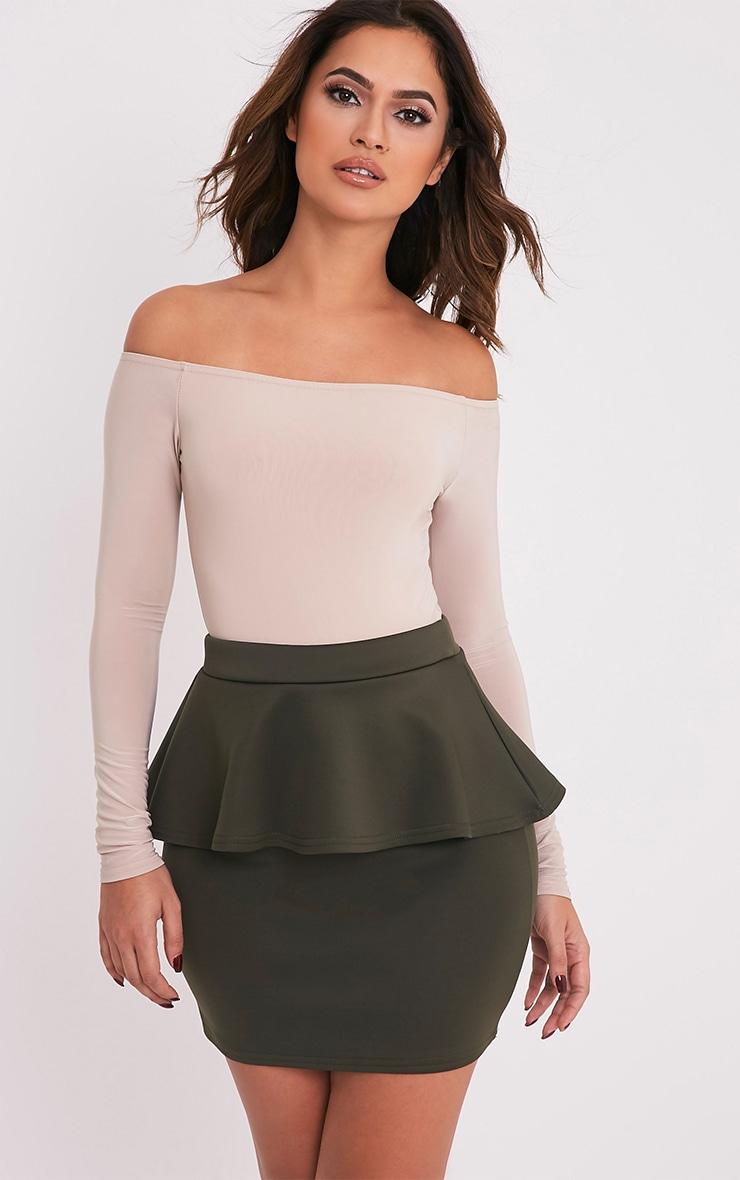 Mariela Khaki Peplum Scuba Mini Skirt 1