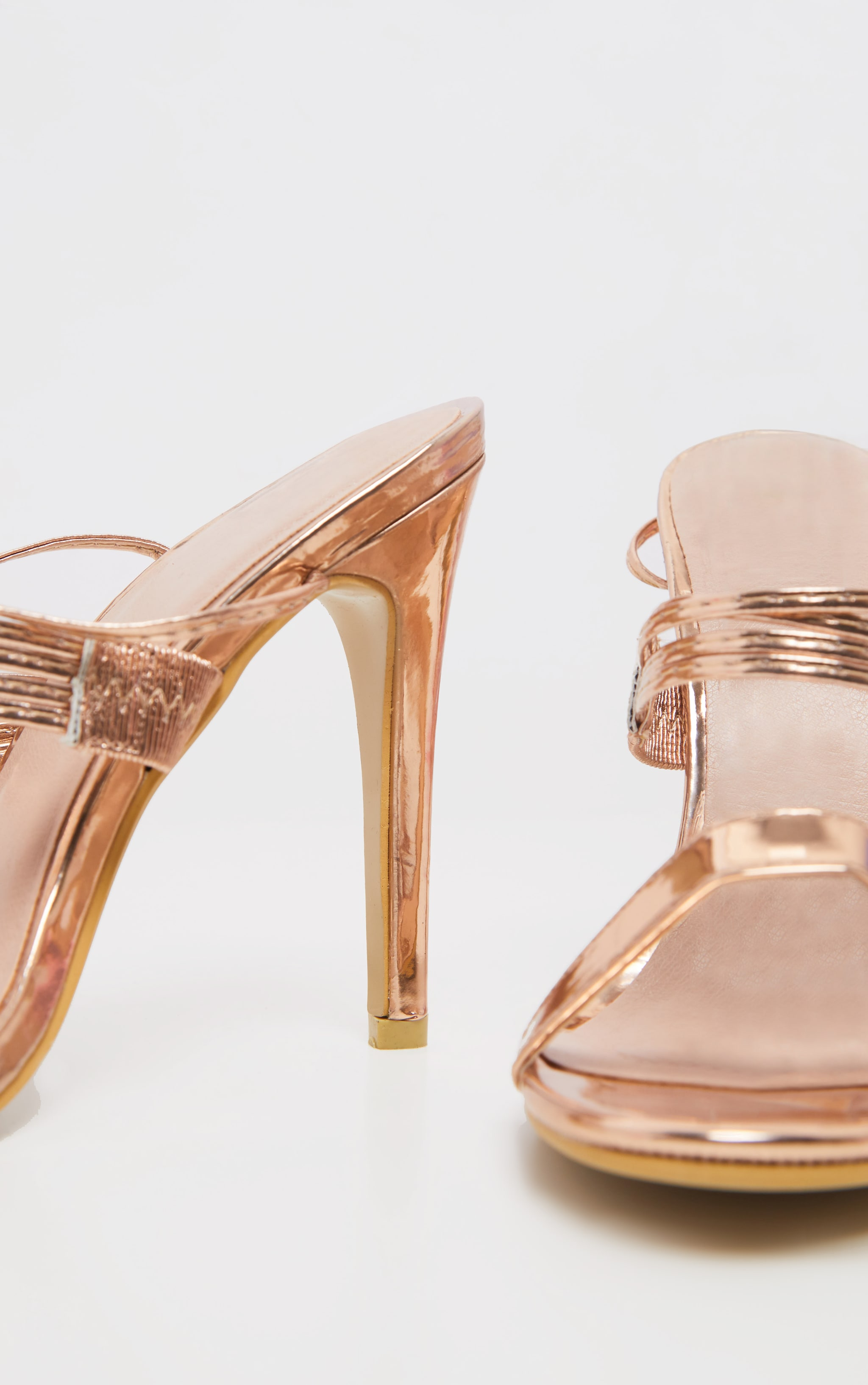 Rose Gold Thin Strappy Lace Up Heels 3