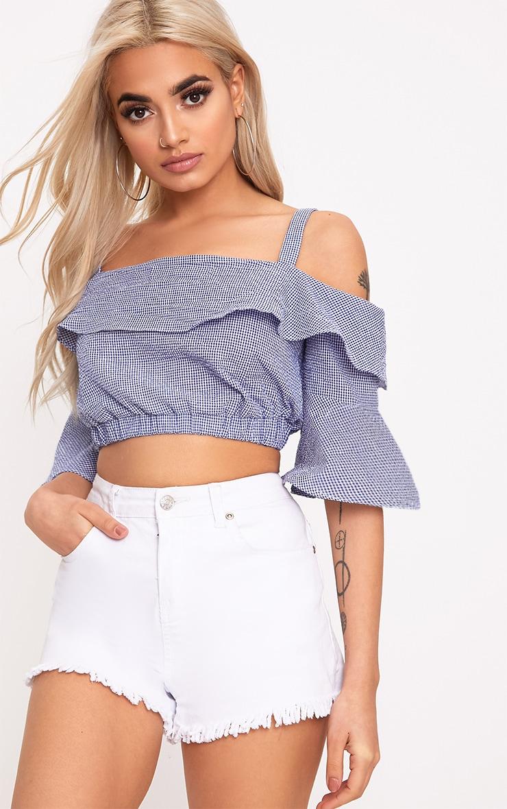 Blue Gingham Cold Shoulder Crop Shirt 1