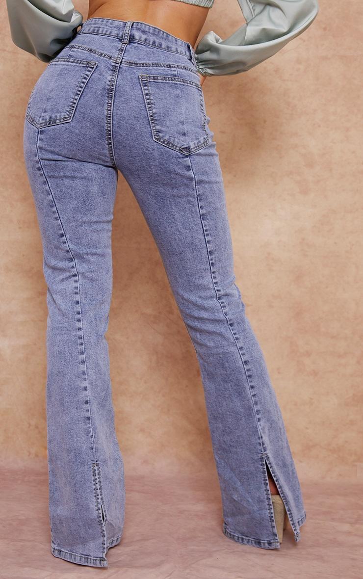 Vintage Wash Seam Back Split Hem Wide Leg Flares 3