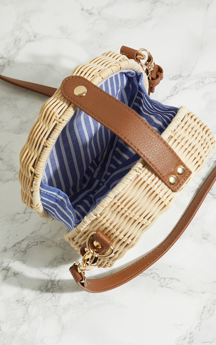 Cream Medium Wicker Cross Body Bag 5