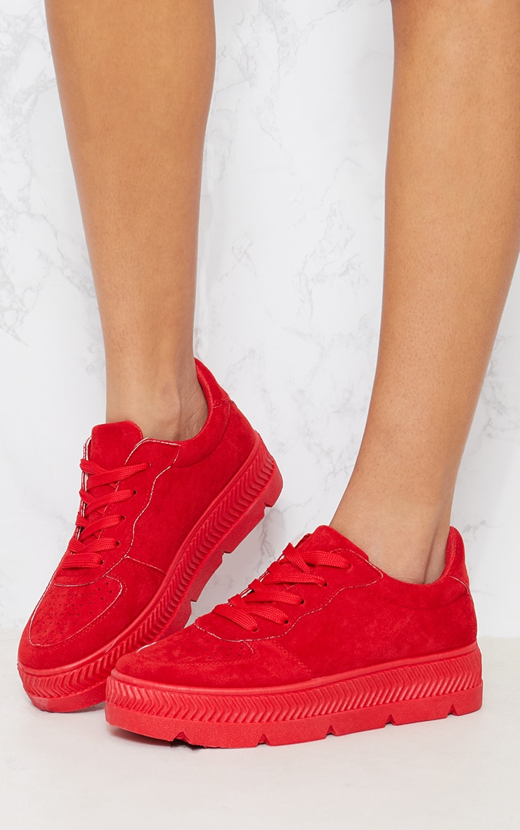Red Cleated Sole Flatform Trainers 2
