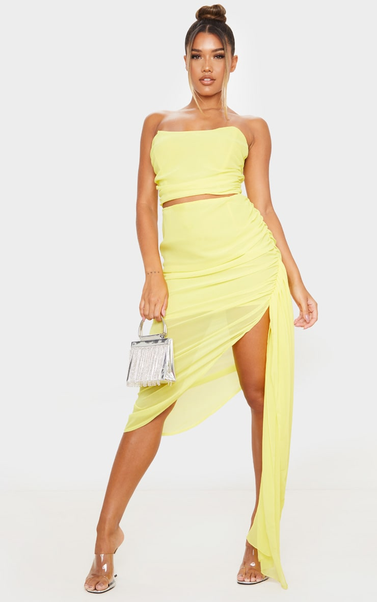 Yellow Woven Structured Curved Crop Top 3