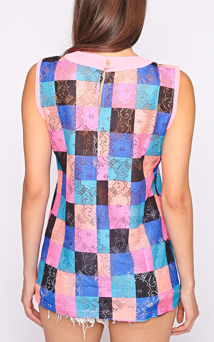 Kinley Pink Trim Check Top  2