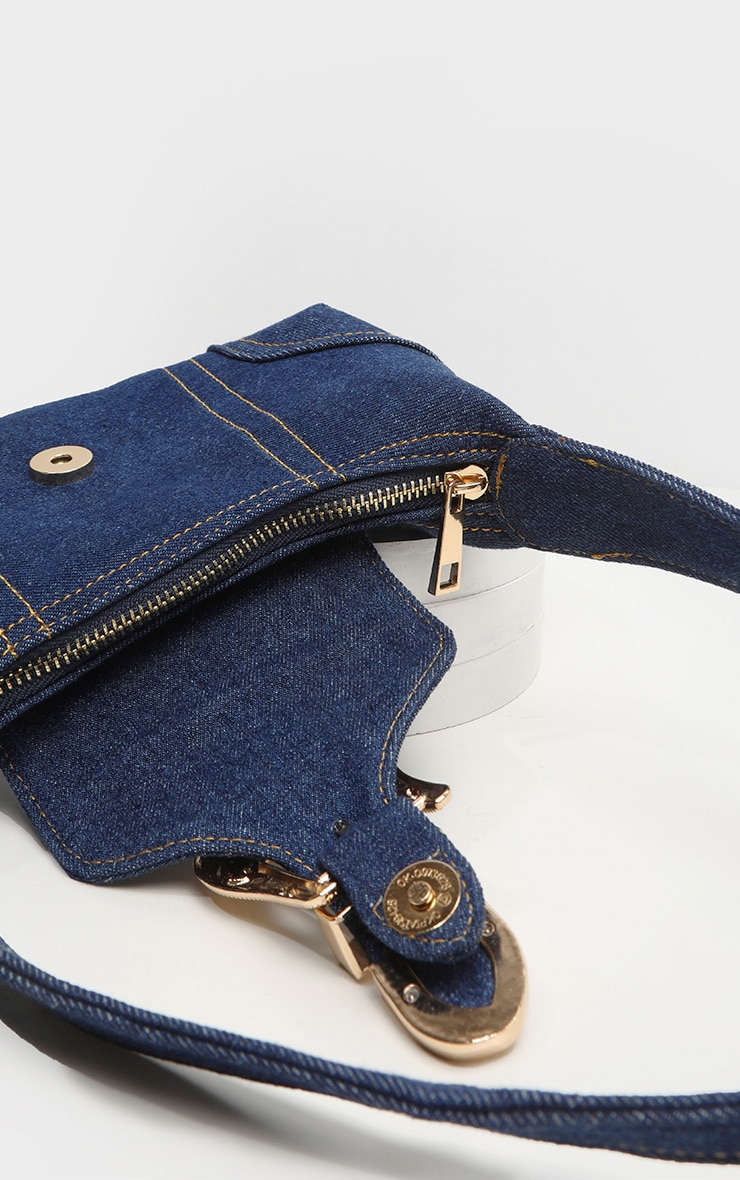 Denim Western Buckle 90's Shoulder Bag 4
