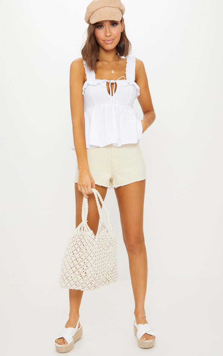 White Frill Detail Key Hole Cami Blouse  4