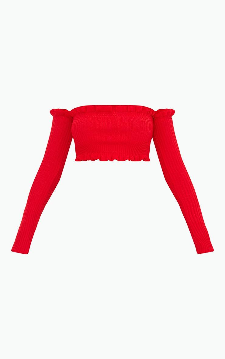 Red Ruffle Detail Knit Bardot Long Sleeve Top 3