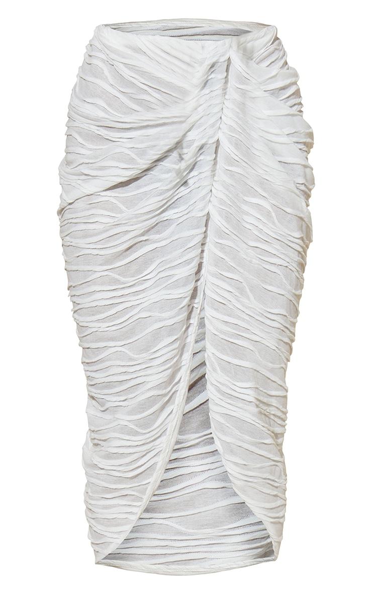 White Textured Knot Detail Split Side Midi Skirt 5
