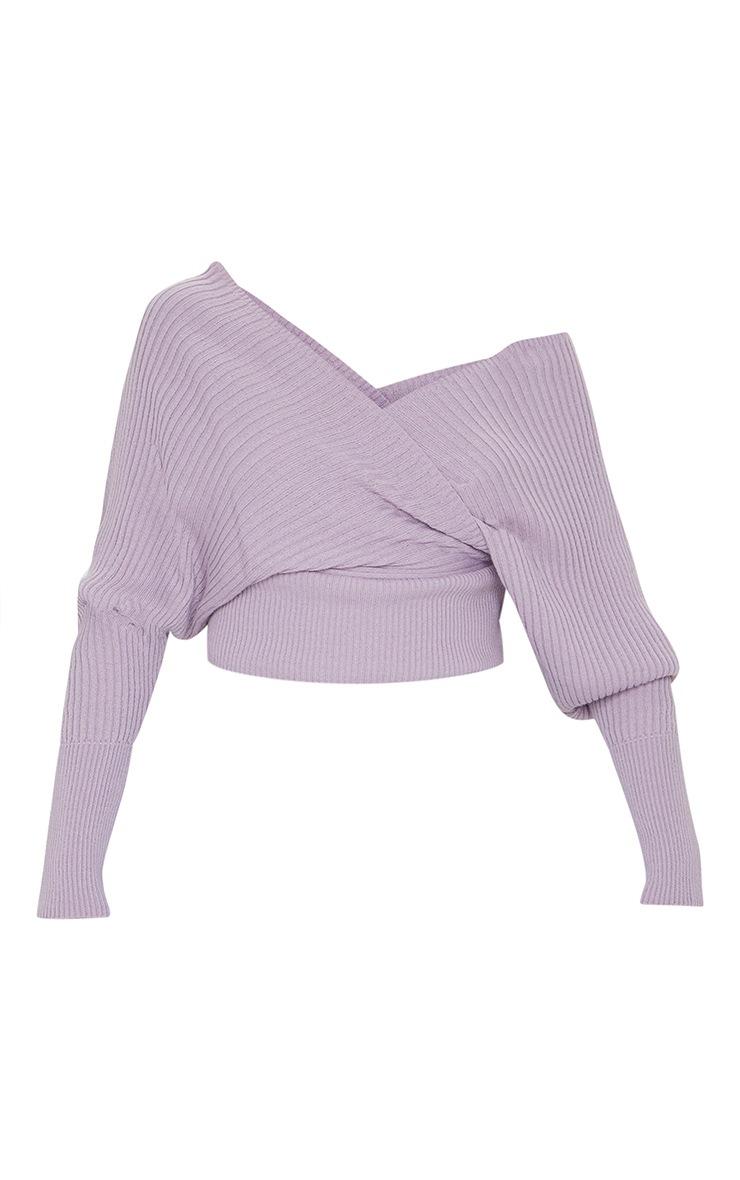 Lilac Off The Shoulder Wrap Jumper 5