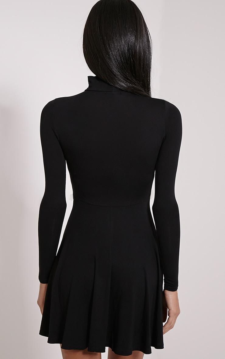Petite Basic robe noire en jersey col montant 2