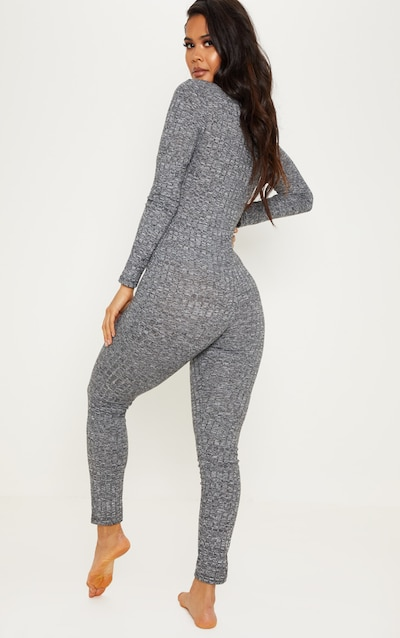 Charcoal Marl Ribbed Button Neck Onesie