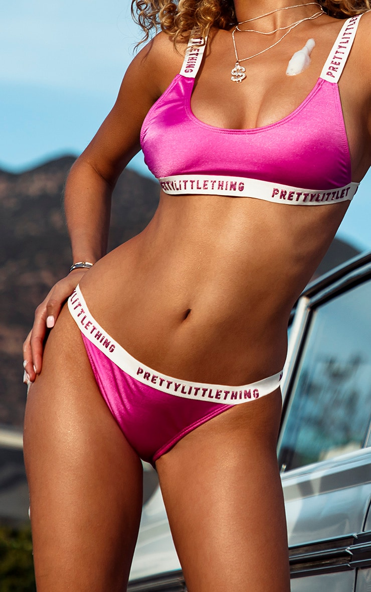 PRETTYLITTLETHING Purple Glitter Bikini Bottom 1