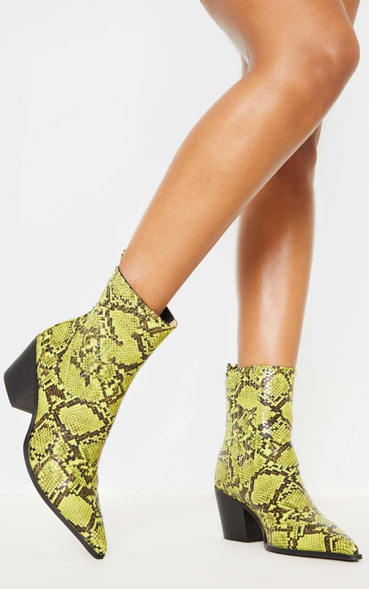Neon Lime Snake Chelsea Western Ankle Boot 1