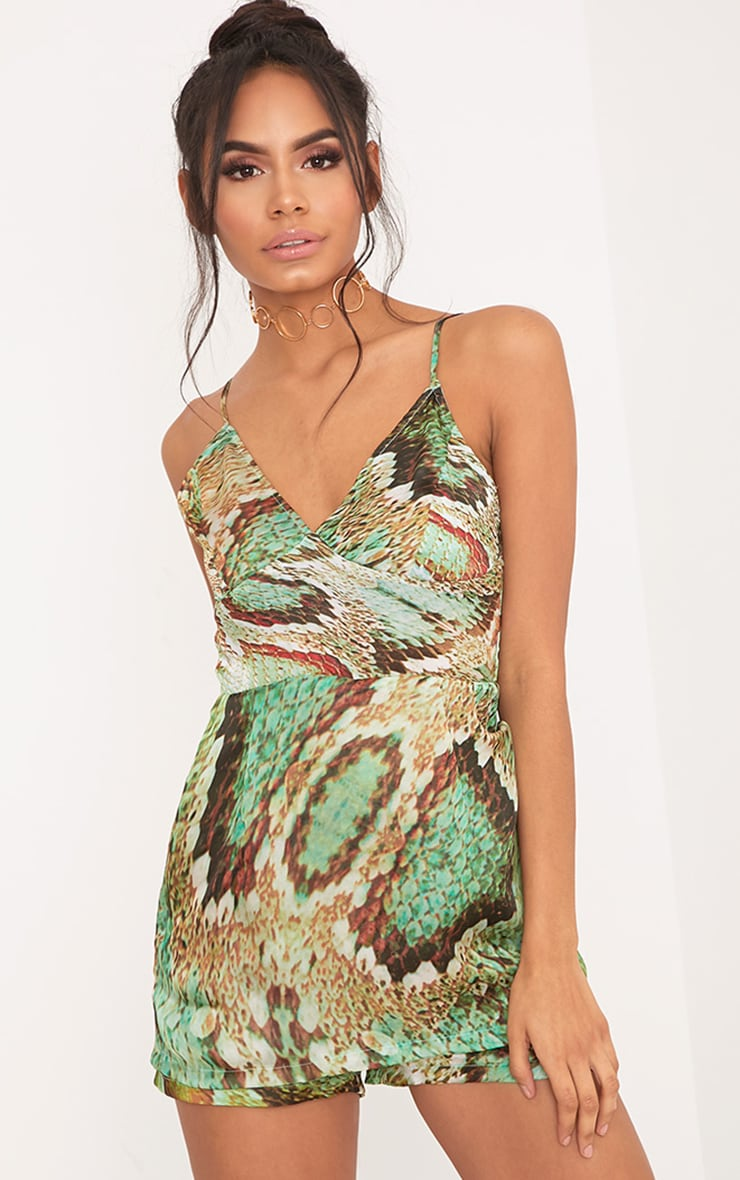 Kyla Green Snake Print Skort Satin Playsuit 1