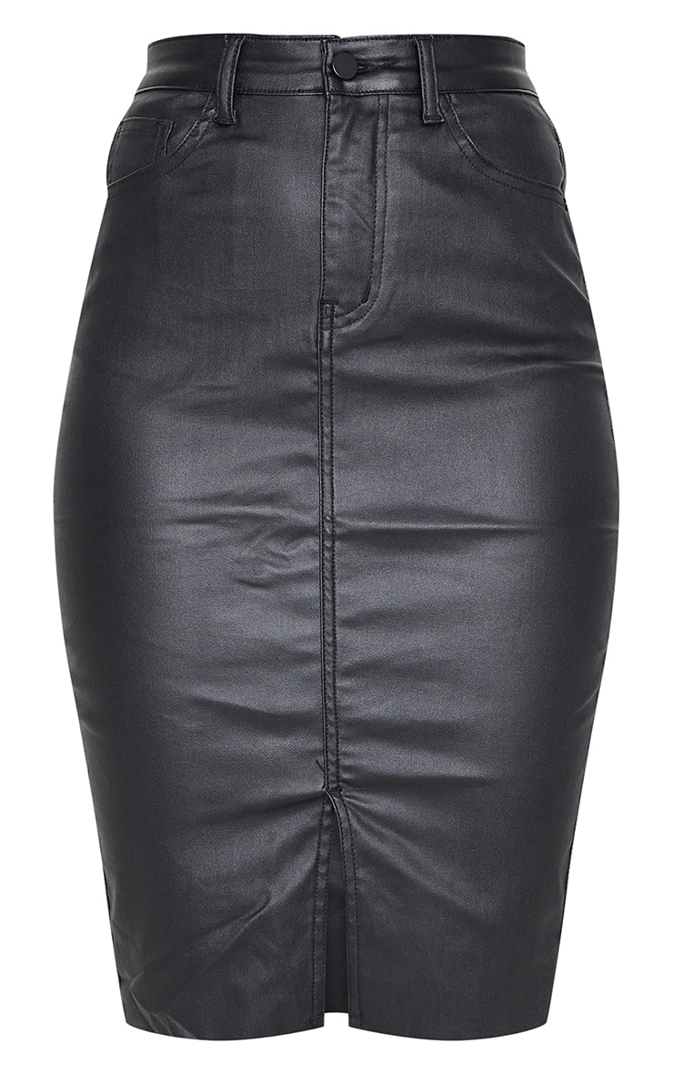 Black Coated Denim Midi Skirt 5