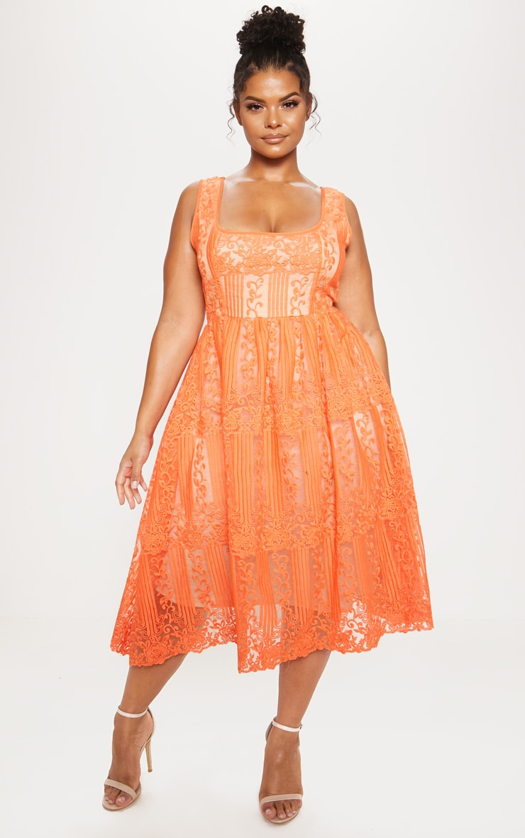 Orange Lace Square Neck Midi Dress 2
