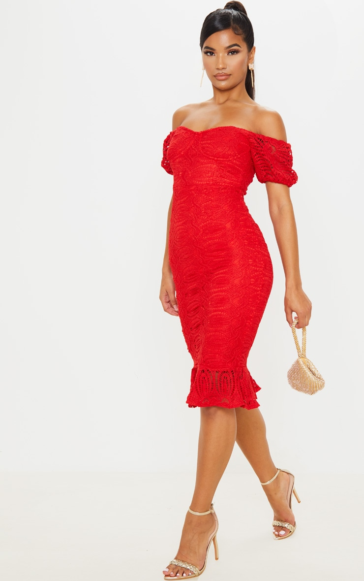 Red Cup Detail Lace Bardot Midi Dress 4