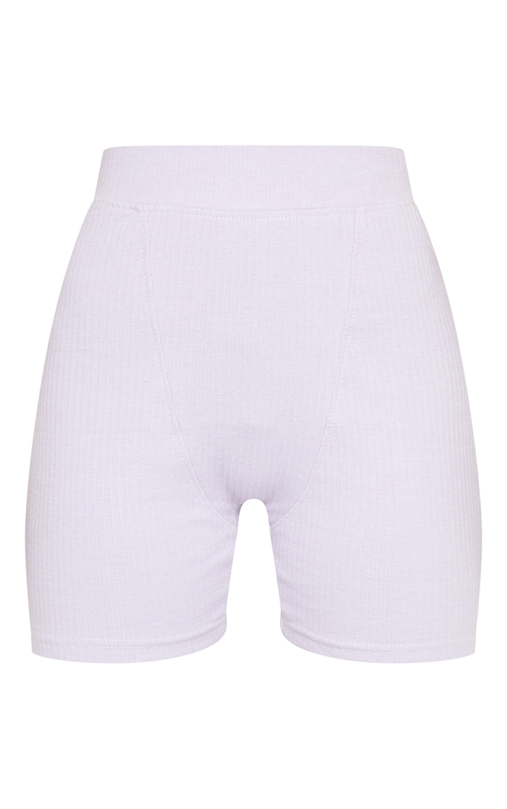 Lilac Structured Rib Seam Detail Shorts 6