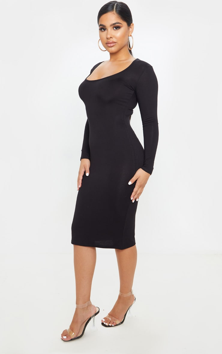 Petite Black Long Sleeve Jersey Midi Dress  4
