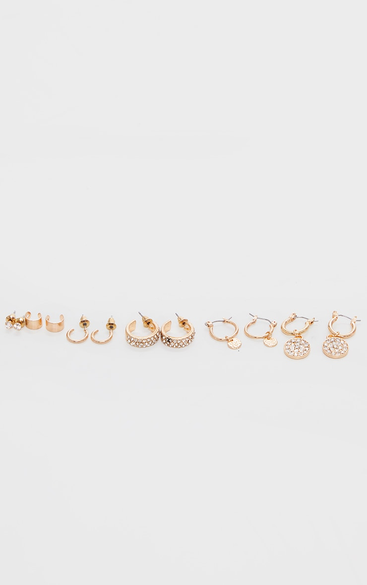 Gold Diamante Assorted Earrings 1