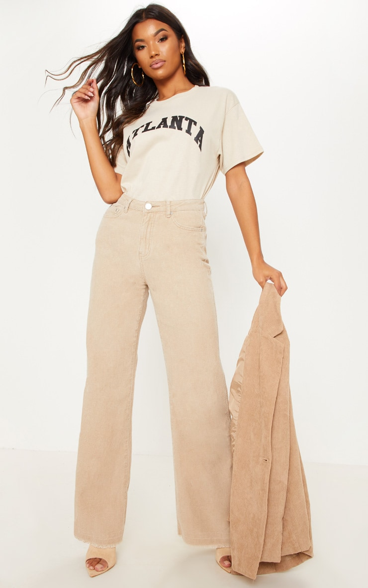 Stone Cord Wide Leg Trousers