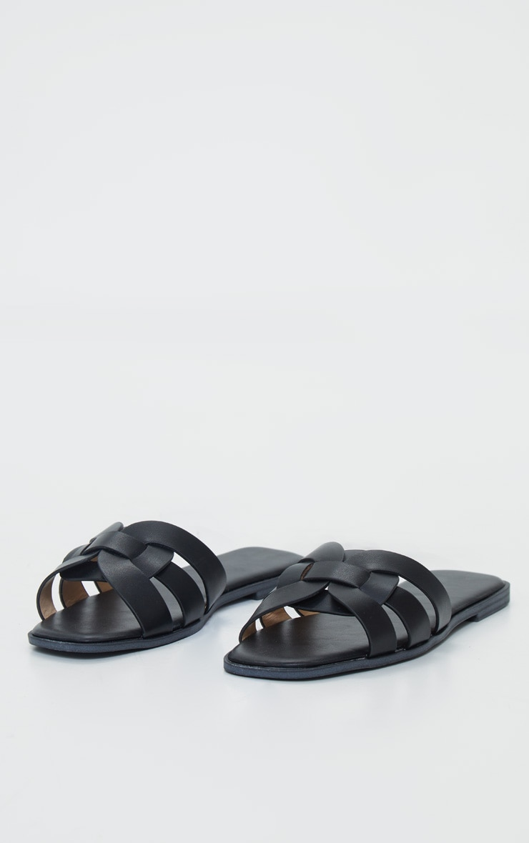 Black Cross Over Strap Mule Flat Sandals 4