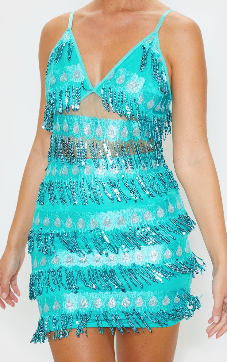Turquoise  Strappy Sheer Panel Sequin Bodycon Dress 5