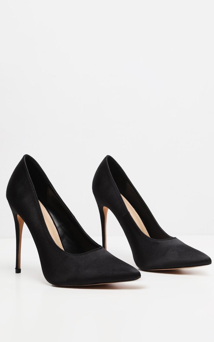 Black Satin Court Shoes 3