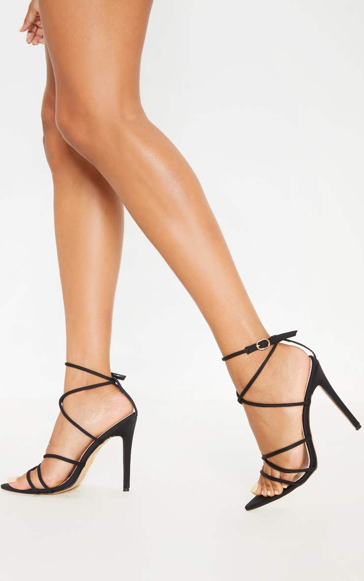 Black Strappy Point Toe Sandal 1