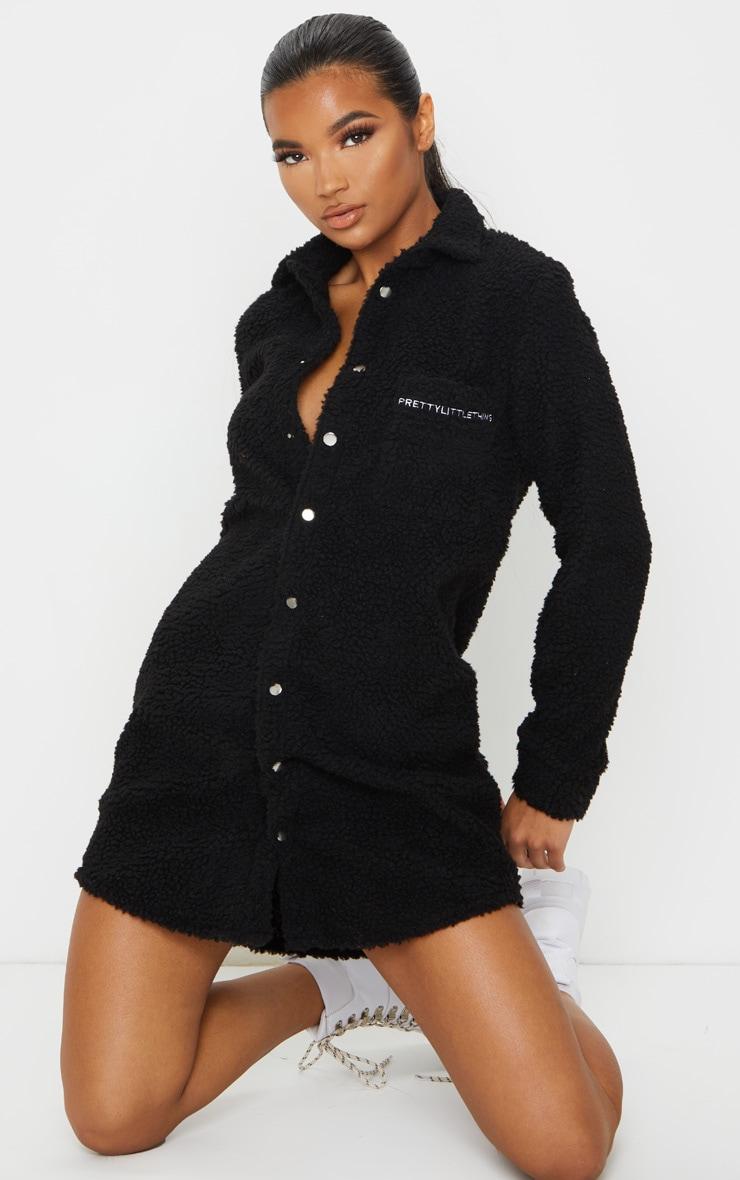 PRETTYLITTLETHING Black Embroidered Borg Shirt Dress 3
