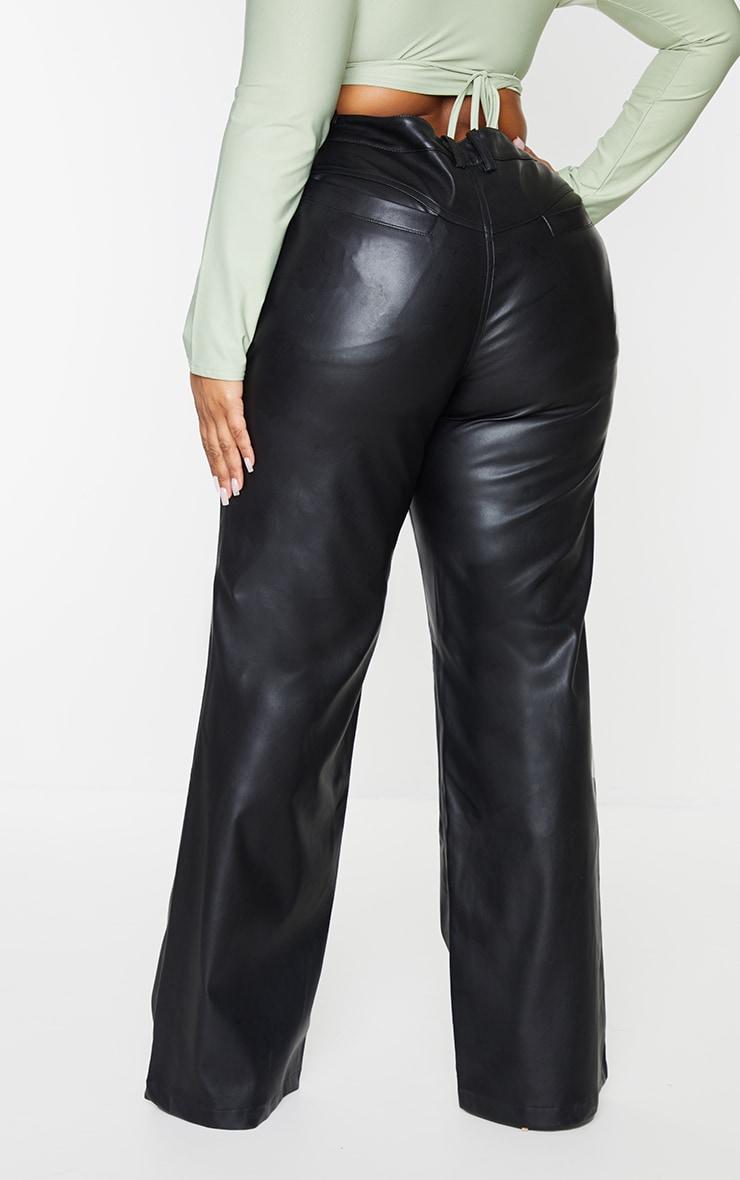 Plus Black Faux Leather Seam Detail Wide Leg Pants 3