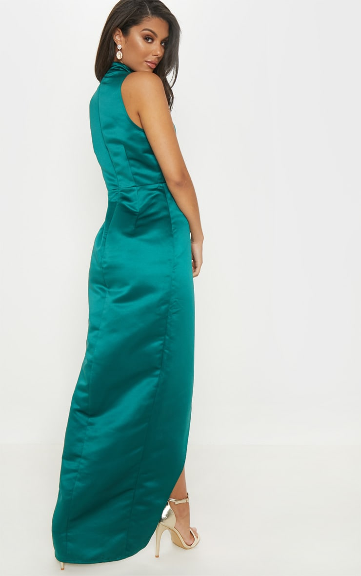 Emerald Green Satin Drape Detail Wrap Maxi Dress 2
