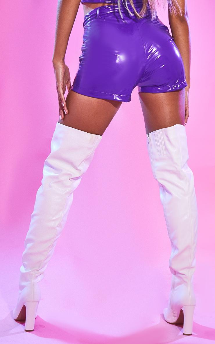 Purple Vinyl Belted Waist Shorts 3